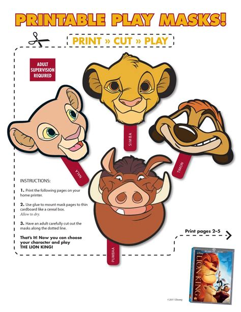 printable wild animal masks wild animals masks 5 animal for kids to print and cut out