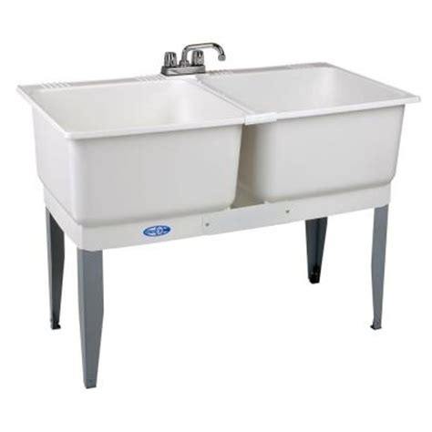 home depot garage sink mustee 46 in x 34 in plastic laundry tub 24c the home