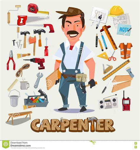 Clipart Vector Of The Carpenter Cartoon Illustration Of dise 241 o de car 225 cter del carpintero con el sistema de