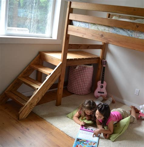 loft bed plans diy ana white c loft bed with stair junior height diy