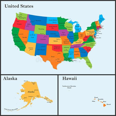 detailed map   usa including alaska  hawaii  united states  america