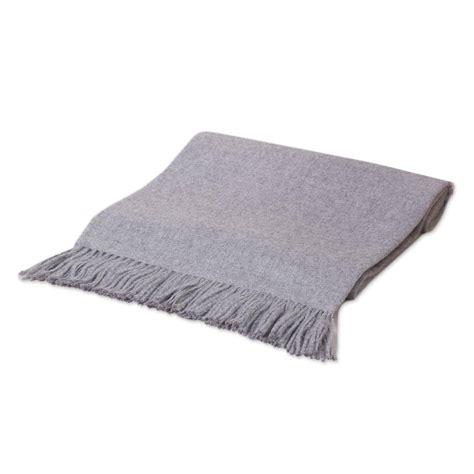 Unicef Uk Market Alpaca Wool Solid Grey Throw Blanket