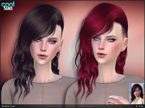 sims 4 hairstyle shaved side messy wavy curly hair inspired in rihanna with shaved side