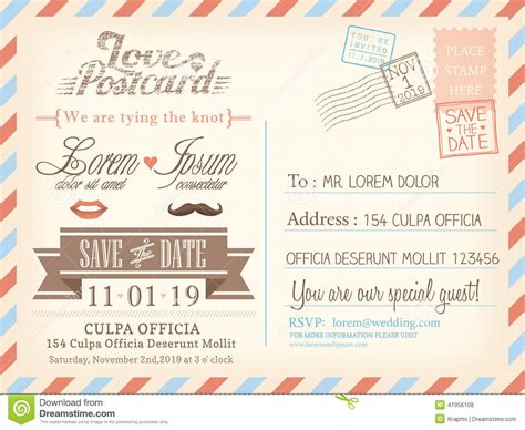 postcard invitation template vintage airmail postcard background template for wedding