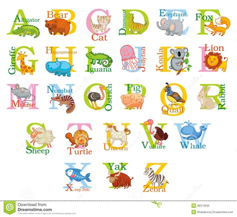 Character With Letter Q animal alphabet stock vector image 48374940