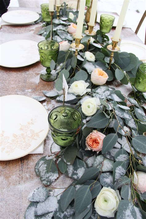 the table was decorated with green goblets brass