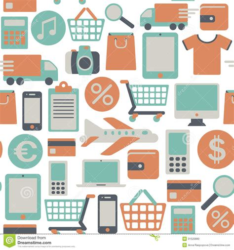 seamless pattern with shopping icons web shopping pattern stock photo image 31520880