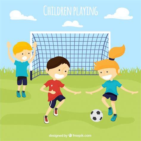 imagenes de niños jugando futbol en caricatura pack de ni 241 os jugando al f 250 tbol descargar vectores gratis