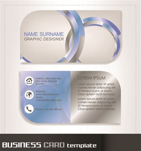 rounded business cards template vector free vector in