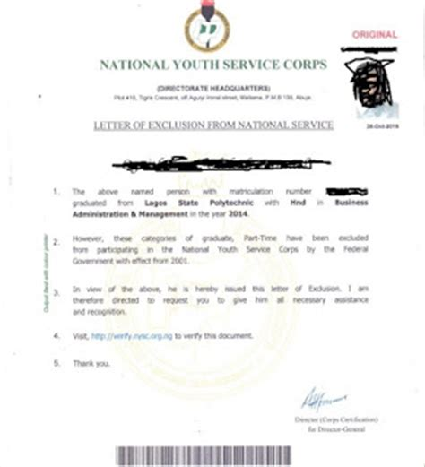 Insurance Exclusion Letter Nysc Discharge Certificate Exemption And Exclusion Letter Nysc Nigeria