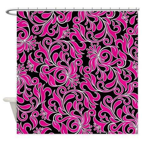 black and pink shower curtain black pink and white damask shower curtain by beautifulbed