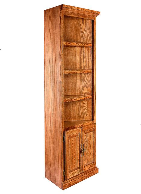 traditional oak corner bookcase lower doors traditional