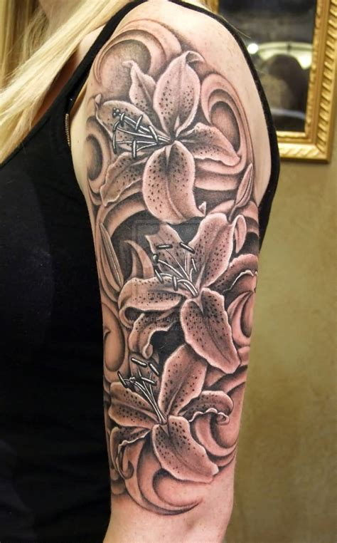 3d sleeve tattoo designs true 3d half sleeve lilies design for