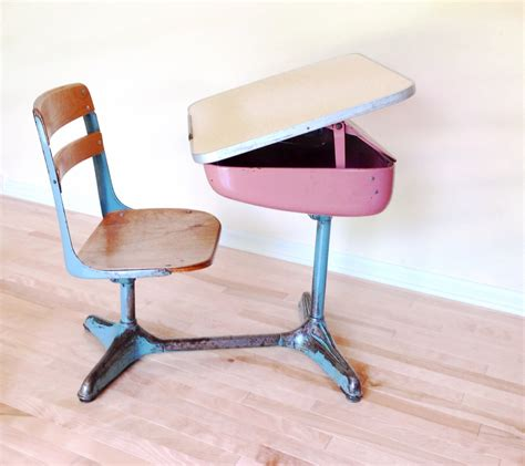 school desk 1950 s desk chair combo pink and blue