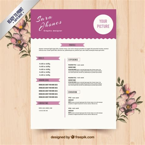 cute purple resume template vector free download