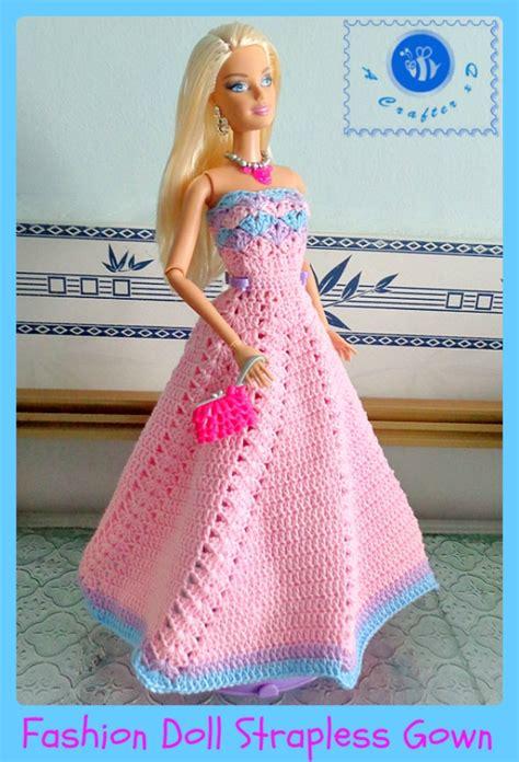 fashion doll dress patterns crochet fashion doll strapless gown maz kwok s designs