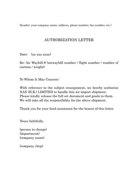 authorization letter sle proof of billing authorization letter of proof of billing 28 images