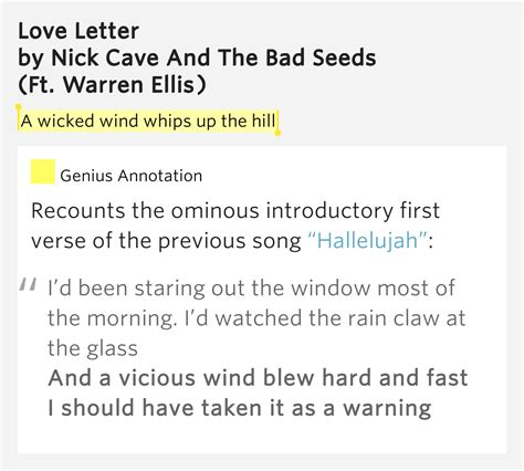 Letter Nick Cave A Wind Whips Up The Hill Letter