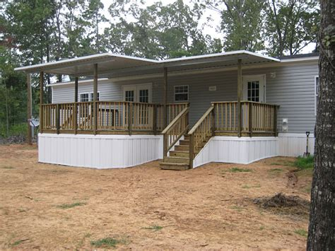 warm mobile home deck design with steel wall applied
