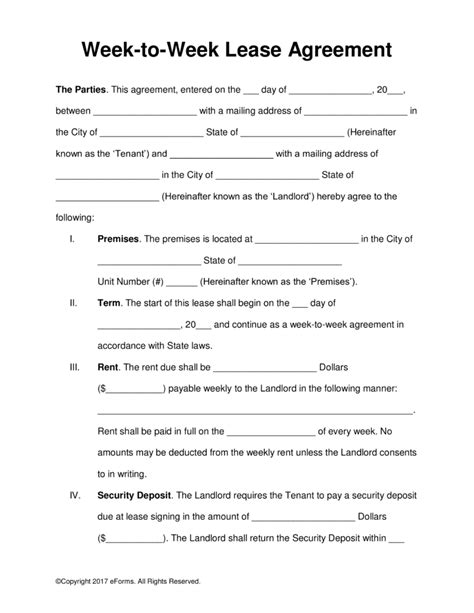 weekly rental agreement template free week to week weekly lease agreement template pdf