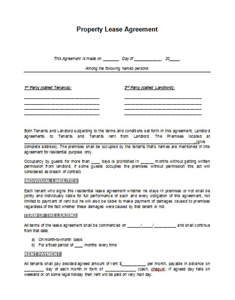 rental agreement lease template lease agreement template format template