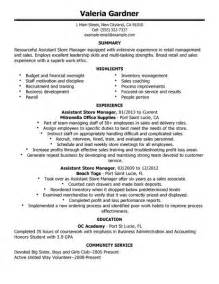 best retail assistant store manager resume exle