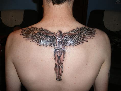 back male angel tattoo for men