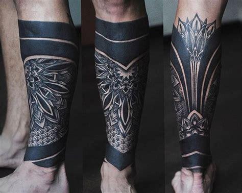 blackwork style colored leg tattoo stylized with