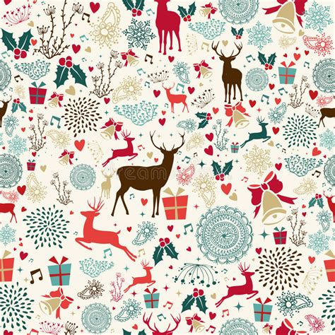 retro christmas pattern vector free vintage christmas reindeer seamless pattern stock vector