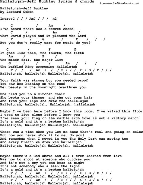 Printable Lyrics Hallelujah | love song lyrics for hallelujah jeff buckley with chords