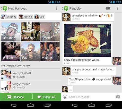 hangout app android unveils new unified hangouts messaging service for ios android