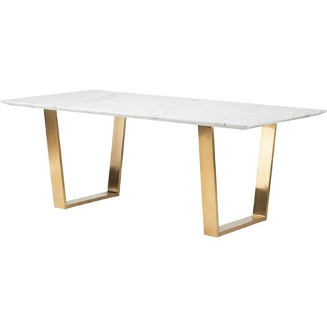 Gold Dining Table Nuevo Modern Furniture Hgsx139 Catrine Dining Table W White Marble Top On Brushed Gold
