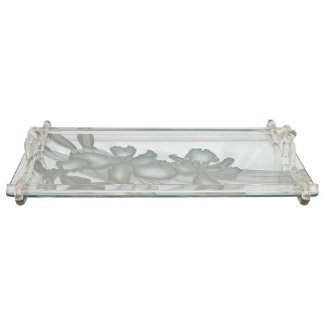tablett glas dorothy thorpe etched mirrored glass tray with lucite