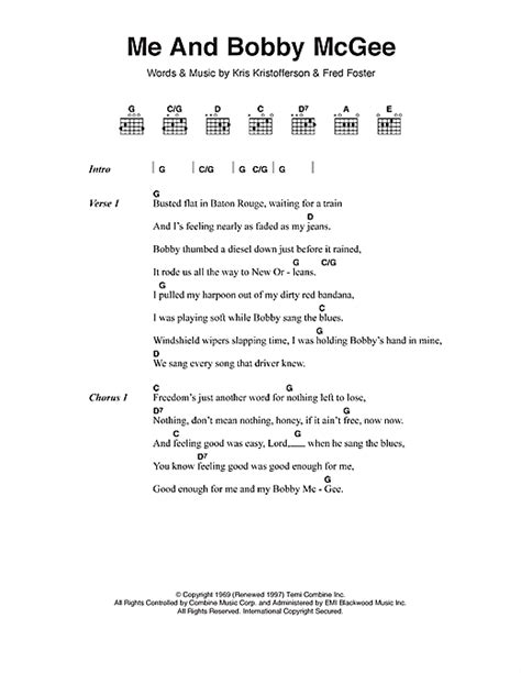 Me And Bobby Mcgee Guitar Chords