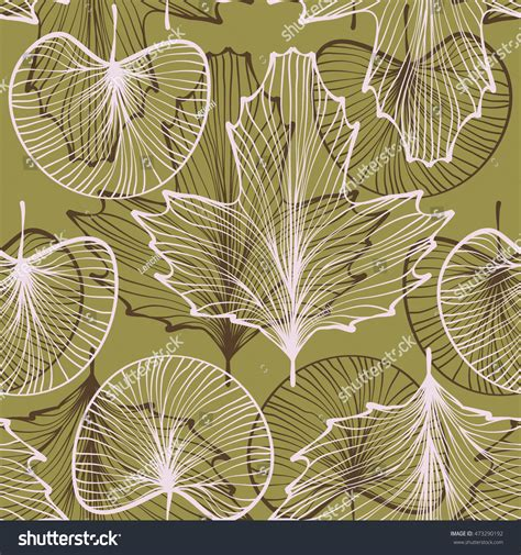 pattern line work textured leaves seamless pattern line work stock vector