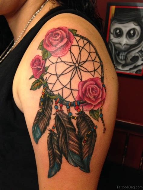 dreamcatcher with roses tattoo 53 catcher shoulder designs