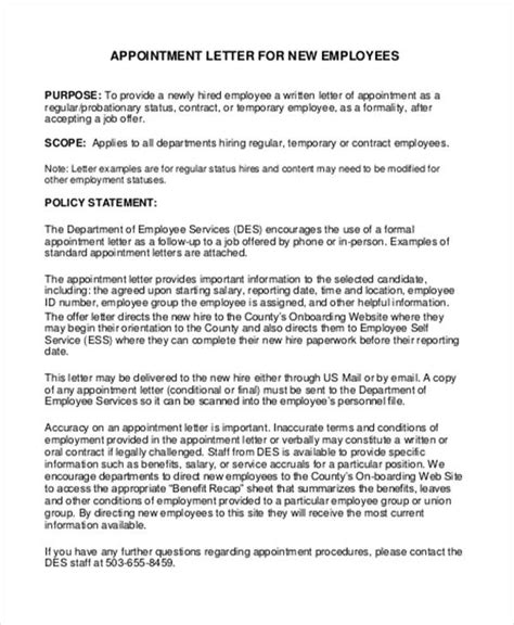 Appointment Letter And Regulations Dsmb Report Template 27 Images Employees Letter Of