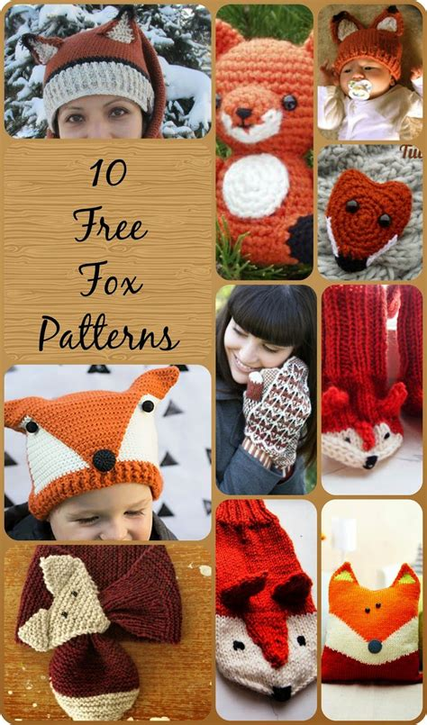 knitting pattern hat scarf mittens 10 free knit and crochet fox patterns scarf mittens