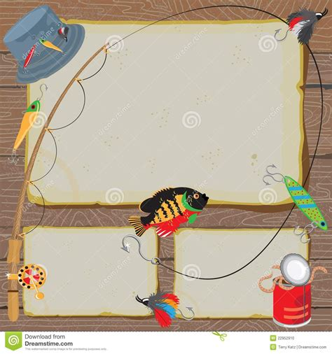 fishing birthday card template fishing invitation notice card stock vector illustration