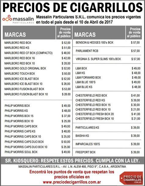 ver aumento ffaa arg abril16 lista de precios de cigarrillos massalin particulares 10