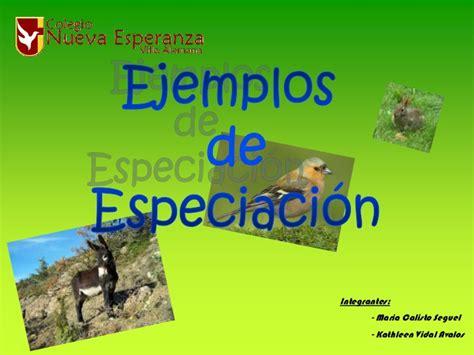 ejemplos de es que mas ejemplos de especiaci 243 n