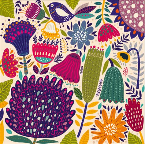 design pattern used in spring cartoon spring tropical pattern background 04 vector