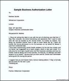 Authorization Letter Business Sle Business Authorization Form Templatezet
