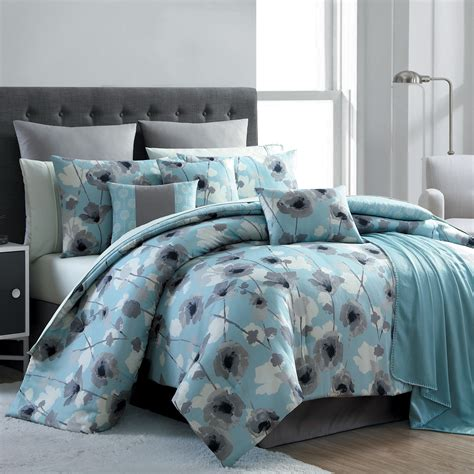 kmart full size comforters essential home 16 complete bed set blue poppy floral home bed bath bedding