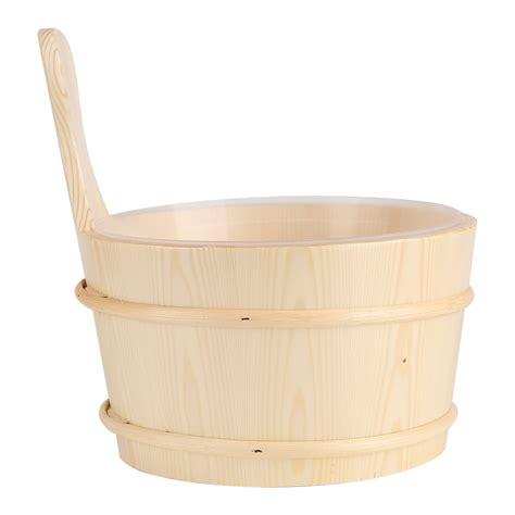 bathtub accessories spa bathroom natural wooden bucket ladle for sauna cabins