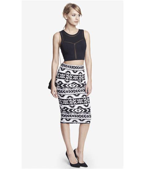 express knit aztec print midi pencil skirt in white black