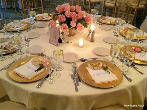 wedding table settings photos weddings at the hawthorne hotel blushing pink and gold