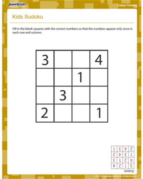 printable sudoku grade 2 kids sudoku free critical thinking worksheet for 2nd