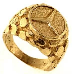 Mercedes Gold Ring Fancy 10kt Yellow Gold Mercedes Logo Ring