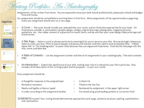 pattern in writing autobiography writing portfolio an autobiography course ppt download